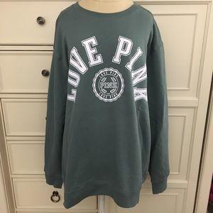 PINK Victoria's Secret Green Crew Sweatshirt